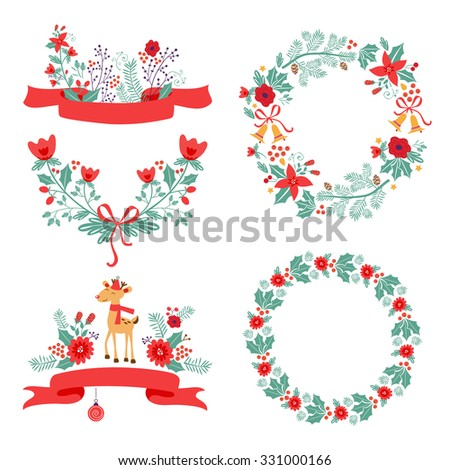 Colorful Christmas banners and laurels with flowers, birds, deer, hollies and leaves. Ideal for invitations and Christmas cards - stock vector