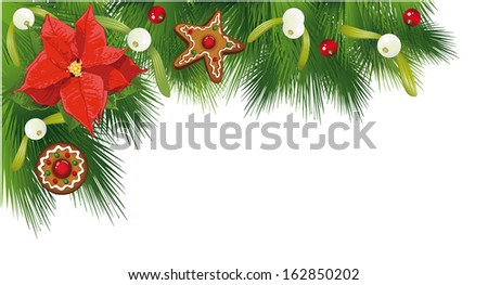 Colorful Christmas border, fir, poinsettia and gingerbread