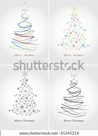 Colorful Christmas cards - stock vector