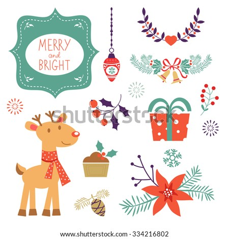 Colorful Christmas collection with holiday elements. Vector illustration - stock vector