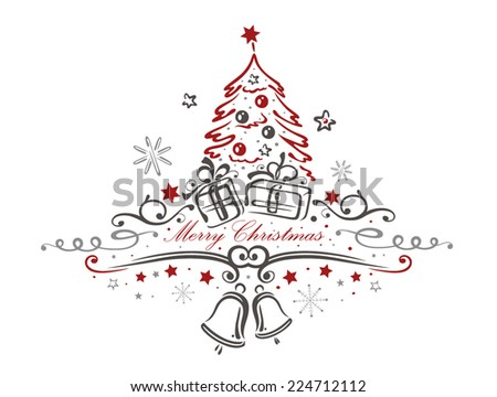 Colorful Christmas decoration, christmas tree and bells - stock vector