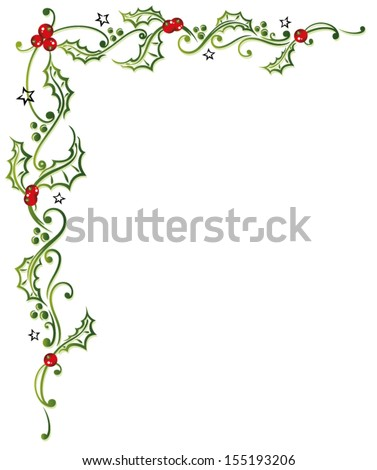Colorful christmas decoration, holly and bells. - stock vector