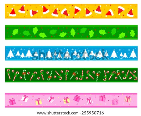Colorful Christmas frame / divider collection on white background - stock vector