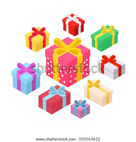 Colorful Christmas gift boxes. 3d Isometric - stock vector