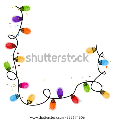 Colorful Christmas light bulb new year greeting card vector - stock vector