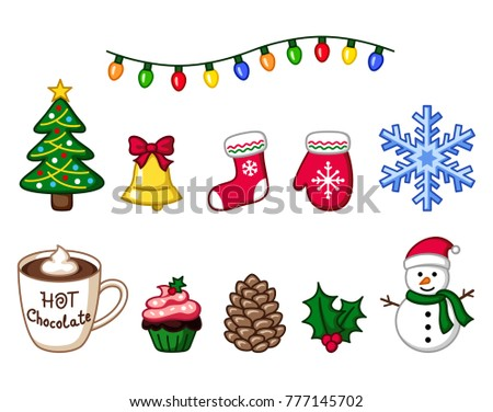 Colorful Christmas Objects Winter Clipart Christmas Stock ...