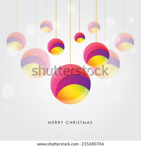 colorful christmas ornament balls hanging on a light glitter background - stock vector