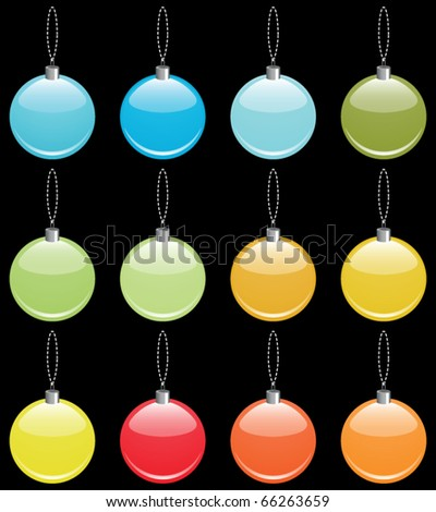 Colorful Christmas ornaments collection - stock vector