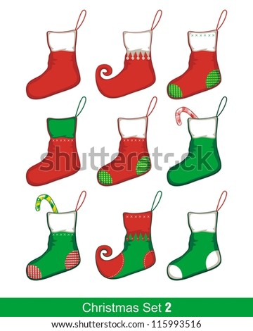 Colorful Christmas set with various stocking shapes - stock vector