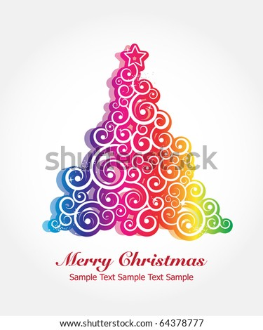 COLORFUL CHRISTMAS TREE. Editable Vector Image - stock vector
