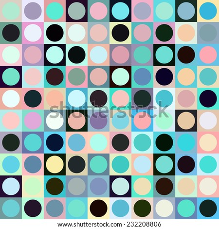 Colorful circle and square geometric seamless pattern. Abstract background.