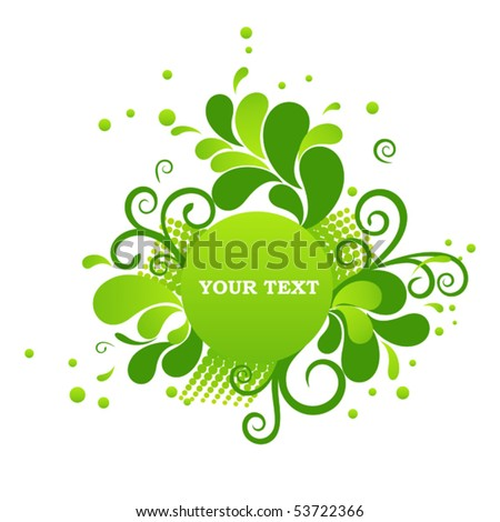 Colorful circle banner with floral ornament - stock vector