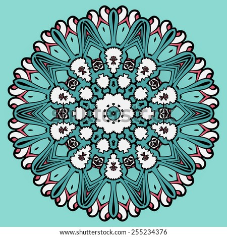 Colorful circle flower mandala background in light  blue. - stock vector