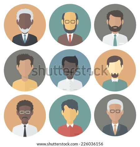 Colorful Circle Icons Set of Persons Male Different Nationality in Trendy Flat Style - stock vector