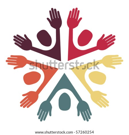 Colorful circle of people design. - stock vector