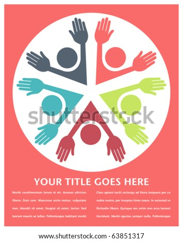 Colorful circle of people with copy space. - stock vector