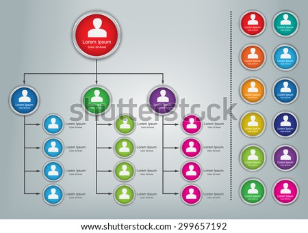 Colorful Circle Organization Chart Infographics with People Icons, Business Structure Concept, Business Flowchart Work Process, Vector Illustration. - stock vector