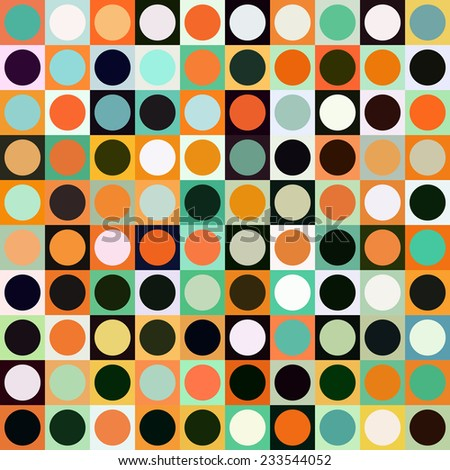 Colorful circle square seamless pattern. Geometric shapes abstract background.