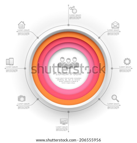 Colorful circle website template. - stock vector