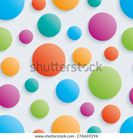 Colorful circles walpaper. 3d seamless background. Vector EPS10. See others in My Perforated Paper Sets. - stock vector