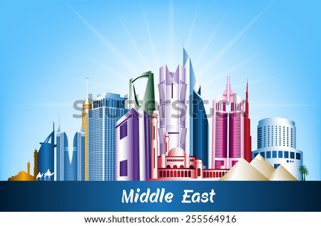 Colorful Cities and Famous Buildings in Middle East. Editable Vector Illustration - stock vector