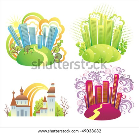 Colorful  cities panorama. - stock vector