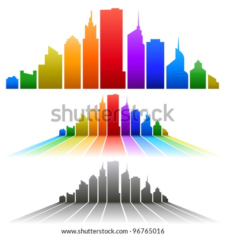 colorful city - stock vector