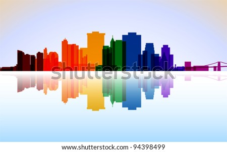 Colorful City Manhattan panorama, vector - stock vector