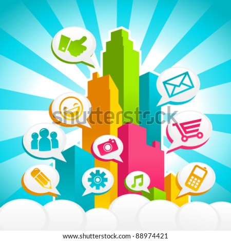 Colorful City Media Bubble Speech - stock vector