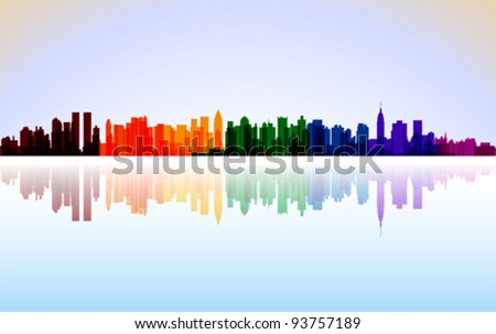 Colorful City New York panorama, vector - stock vector