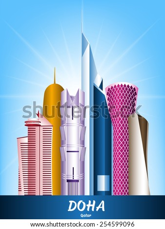 Colorful City of Doha Qatar Famous Buildings. Editable Vector Illustration - stock vector