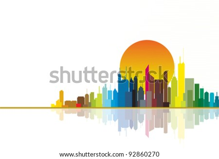Colorful city silhouette illustration showing bright orange sun in the background. CMYK global process colors used. Illustration managed using layers. AI EPS version 8. - stock vector