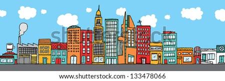 Colorful city skyline - stock vector