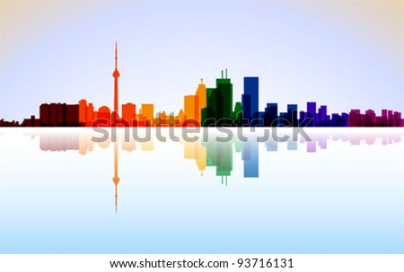 Colorful City Toronto panorama, vector - stock vector