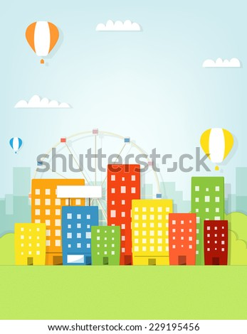 Colorful city witch ferris wheel - stock vector