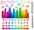 Colorful city with social media icons and clouds - stock vector
