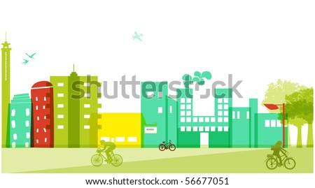 colorful cityscape - stock vector