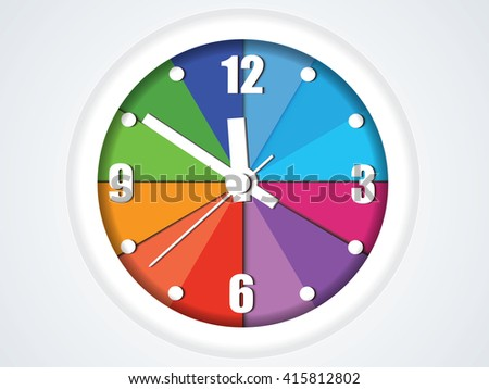 Colorful clock time symbol - Transparency effects used on highlight elements.Vector