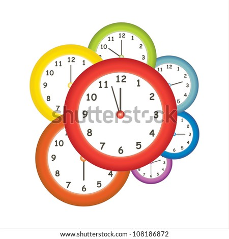 Colorful clocks - stock vector