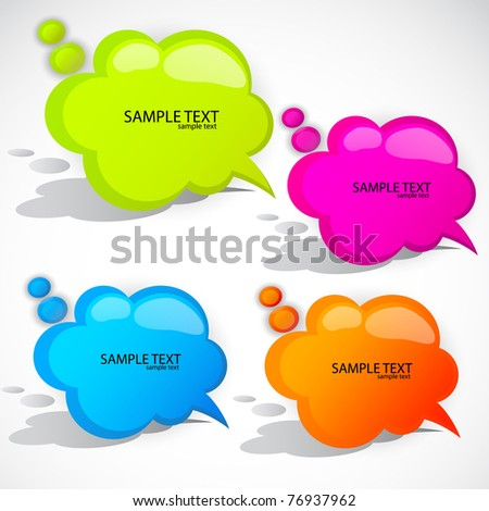 Colorful cloud bubble for speech - stock vector