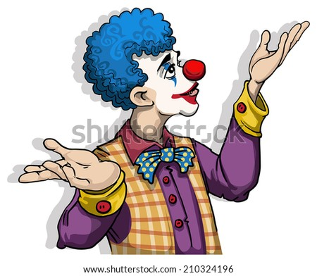 Colorful Clown, vector illustration - stock vector