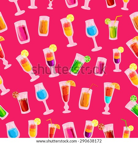 Colorful cocktail drink seamless pattern template concept. Icons  for your product or design, web and mobile applications. Vector flat with long shadow illustration on blue background - stock vector