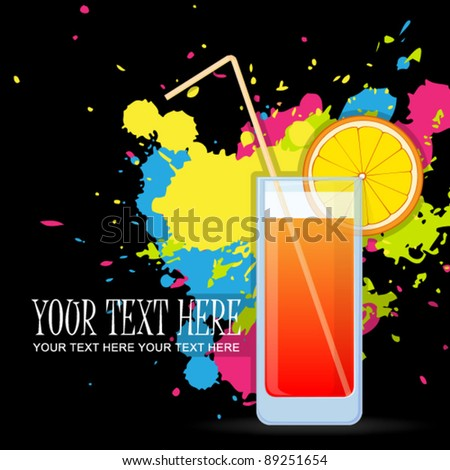 Colorful cocktails on a grunge-background. Vector illustrations. EPS 10 - stock vector