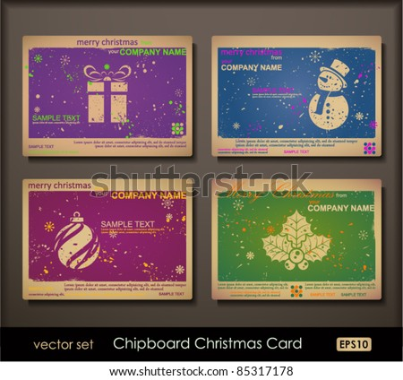 Colorful collection of chipboard Christmas cards. Two colors cards for printing  the old fashioned way, but trendy. Print on blank chipboard textured paper. Size A6 (105×148 mm / 4.1×5.8 in). - stock vector