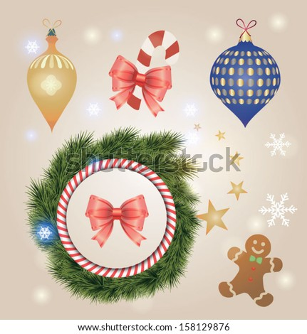 Colorful collection of Christmas decoration design elements. Sparkle background can be easily removed