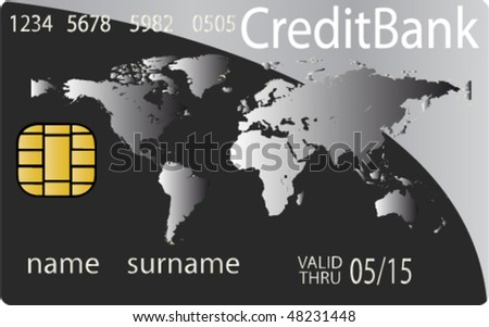 Colorful collection of credit cards. Highly detailed vector - stock vector
