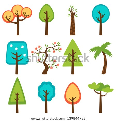 Colorful collection of vector trees - stock vector