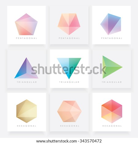 Colorful collection set of soft mesh facet crystal gem logo designs or web elements. Pentagonal, triangular and hexagonal polygon shapes. - stock vector