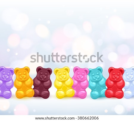 Colorful colorful gummy bears candies background. Sweets vector illustration. - stock vector