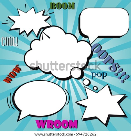 Colorful comic page template with blank white speech bubbles on bright backgrounds with rays, radial, halftone, sound, dotted effects in pop-art style. Vector illustration